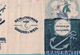 DEPLIANT 3 VOLETS BAIN CHROMAGE INOXYDABLE GRAUER & WEIL 76 BD RICHAR-LENOIR PARIS / LA LITHOGRAPHIE PARISIENNE PARIS - Publicités