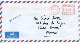 SINGAPOUR EMA SUR LETTRE POUR LA FRANCE 1991 - Singapour (1959-...)