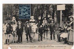 ANE * SOUVENIR VILLAGE BRETON (vignette) * NANTES * PROMENADE * 1910 * ENFANTS  *  ANES - Anes