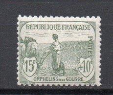 - FRANCE N° 150 Neuf ** MNH - 15 C. + 10 C. Gris-vert Orphelins 1917-18 - Cote 125 EUR - - Francia