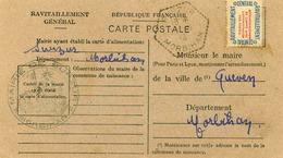 Carte De Ravitaillement, Mairie De SURZUR (Morbihan) - Cachet à Date D'agence Postale Rurale De 1946 - Marcophilie (Lettres)