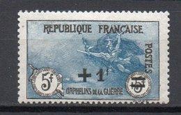 - FRANCE N° 169a Neuf * MH - +1 F. S. 5+5 F. Orphelins 1922, IMPRESSION FINE - Cote 220 EUR - - Neufs