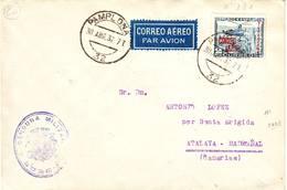 ESPAGNE CORREO AERO N° 181 Obl Pampelona Sur Lettre Pour Las Canarias , Censure Burgos , Espana , Spain - 1931-Aujourd'hui: II. République - ....Juan Carlos I