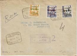 ESPAGNE CORREO AERO N° 151 à 153 Obl LAS PALMAS Sur Lettre Recommande Pour La France RARE !!!!, Censure , Espana , Spain - 1931-Heute: 2. Rep. - ... Juan Carlos I