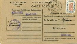 Carte De Ravitaillement, Mairie De SEGLIEN ( Morbihan) - Cachet à Date De Bureau De Distribution Du 27 Juillet 1946 - Marcophilie (Lettres)