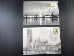 """BELG.2003 3170/3171 FDC Maxicards :"""" Unieke Mooie Kaarten Met Handtekening Guillaume Broux (ontwerper Kaart )"""" - FDC"""