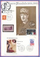FRANCE- CARTE + ENVELOPPE 45EME ANNIVERSAIRE DU RETOUR DU GENERAL DE GAULLE + ASSOCIATION FRANCAIS LIBRES 19 JUIN 1976 - Guerre Mondiale (Seconde)