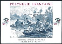 POLYNESIE 1984 - Yv. BF 9 (PA 182) **   Faciale= 1,68 EUR - Expo Phil. Espana'84  ..Réf.POL25025 - Blokken & Velletjes