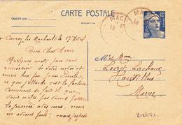 Mariane De Gandon N° 812/CP1 Expédié De CAUROY MALCHAULT (08) à HAUVILLERS (51) - A Voir 2 Scans - Postal Stamped Stationery