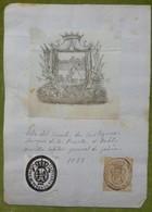 Ex-libris Héraldique, Cachet, Annoté - ESPAGNE - PABLO MORILLO - CAPITANIA GENERAL DE GALICIA - 1833 - Ex-libris