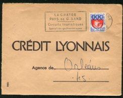 16395 FRANCE N°1354B° Flamme :La Chatre Pays De G. Sand Circuits Touristiques Spécialité Gastronomique Du 11.6.1966B/TB - Marcophilie (Lettres)