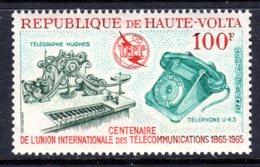 UPPER VOLTA - 1965 ITU INTERNATIONAL TELECOMMUNICATIONS ANNIVERSARY 100F STAMP FINE MNH ** SG 161 - Upper Volta (1958-1984)