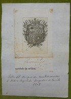 Ex-libris Héraldique, Signature, Annoté - ESPAGNE - MARQUIS DE CASATREMANES - 1809 - Ex-libris