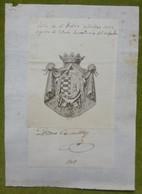 Ex-libris Héraldique, Annoté, Signature - ESPAGNE - PEDRO CEBALLOS - 1808 - Ex-libris
