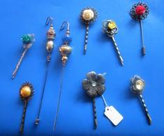 Vintage Accessoire Lot 9 épingle Aiguille à Chapeau & Cheveux Dame Tige Métal Hat Pin-décor Art Nouveau-Collection Rétro - Headdresses, Hats, Caps