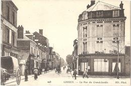 Dépt 14 - LISIEUX - La Rue Du Grand-Jardin - (ND Phot. N° 203) - à Gauche CAFÉ CARON - à Droite CAFÉ DU NORD (H. HAIMET) - Lisieux