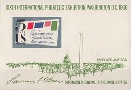 Stati Uniti 1966 Sc. 1311 SIPEX Expo Washington Sheet Nuovo MNH Imperf. - Esposizioni Filateliche