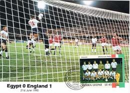 35400. Tarjeta Maxima  SIERRA LEONA 1990. Mundial FUTBOL, Football  Italia 90. EGYPT - ENGLAND - 1990 – Italië