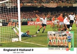 35401. Tarjeta Maxima  SIERRA LEONA 1990. Mundial FUTBOL, Football  Italia 90. ENGLAND - HOLLAND - 1990 – Italië