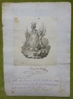 Ex-libris Héraldique, Annoté, Signature - ESPAGNE - ANTONIO REMON ZANO DEL VALLE - 1823 - Ex-libris