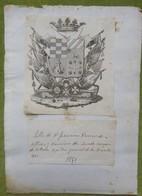 Ex-libris Héraldique, Annoté, - ESPAGNE - FRANCISCO XAVIER DE ULLOA - 1850 - Ex-libris