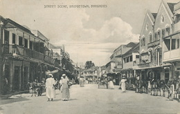 Barbados  Street Scene Bridgetown   .Edit Johnson  Attelage Ane . Donkey Cart - Barbades