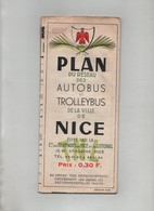 Plan Du Réseau Des Autobus Et Trolleybus Nice 1965 Lignes TNL Avec Publicités - Europa