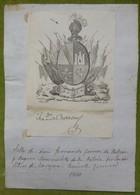 Ex-libris Héraldique, Annoté, Signée - ESPAGNE - FERNANDO GOMEZ DE BUTRON - 1840 - Ex-libris