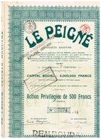 Titre Ancien - Le Peigné - Société Anomyme - Titre De 1920 - Textile