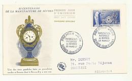 PREMIER JOUR  MANUFACTURE DE SEVRES 23/03/1957  COTE   8 EUROS. - FDC