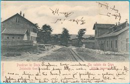 SINJ - Railway Station & Railway Office ( Croatia ) * Travelled * Bahnhof Stazione Ferroviaria Train Zug RRR - Gares - Sans Trains