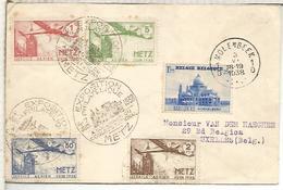 BELGICA 1938 MOLENBEEK METZ EXPOSICION FILATELICA VIÑETAS CORREO AEREO - Francia