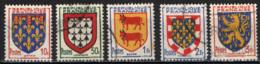 FRANCIA - 1951 - STEMMI DI PROVINCE FRANCESI: ARTOIS, LIMOUSIN, BEARN, TOURAINE, FRANCHE-COMTE - USATI - Francia