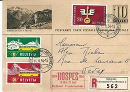 0146, 10 Cts Vert Olive, Gimmelwald B. Mürren, 314,315,317, Obl. Schweiz. Automobil-Postbureau 15.V.54, Recommandé - Interi Postali