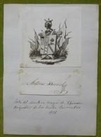 Ex-libris Héraldique, Annoté, Signée - ESPAGNE - ANTONIO BURRIEL - 1821 - Ex-libris