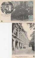 2 CPA:FÊTE FORAINE JUIN 1907 CONCERT TUNISIEN LE BONIMENT CHEZ LÉONARDY ,HÔPITAL MILITAIRE TEMPORAIRE N° 24 COGNAC (16) - Cognac