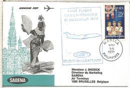 FILIPINAS  PRIMER VUELO SABENA 1970 MANILA A BRUSELAS BOEING 707 - Filipinas