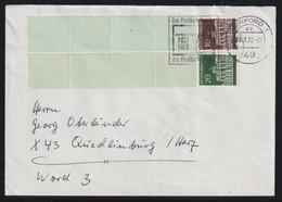 Rollenmarken-Endstreifen Mit MiNr. 506+507 Auf Brief Von HERFORD Nach QUEDLINBURG - Rolstempels