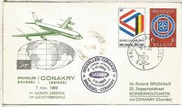 BELGICA BRUSELAS 1969 PRIMER VUELO BRUXELLES GUNEE CONAKRY POR SABENA - Luchtpost