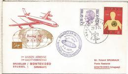 BELGICA BRUSELAS 1974 PRIMER VUELO SABENA BRUXELLES MONTEVIDEO URUGUAY - Luchtpost