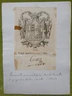 Ex-libris Héraldique, Annoté, Signée - ESPAGNE - GREGORIO DE LA  CUESTA - 1800 - Ex-libris
