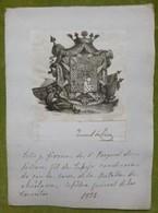 Ex-libris Héraldique, Annoté, Signée - ESPAGNE - PASQUAL DE LINAN - 1832 - Ex-libris