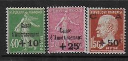 France  N° 253 à 255 *  -  Cote : 120 € - France
