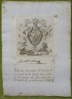 Ex-libris Héraldique, Annoté, Signée - ESPAGNE - JOAQUIN DE FONSDEVIELA ? - 1796 - Ex-libris