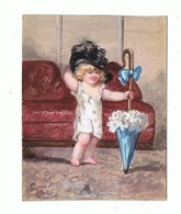 AQUARELLE Sur Cartoline_enfant Se Deguisant - Prints & Engravings