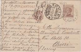 8614.  Cartolina Postale Intero - San Martino Canavese - Chieri - 1932 - 1900-44 Victor Emmanuel III