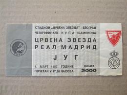 FC RED STAR Belgrade : Real Madrid - 1987. ¼ European Cup Football Soccer Match Ticket - Tickets D'entrée