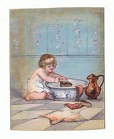 AQUARELLE Sur Cartoline_ Enfant Jouant A L'eau - Prints & Engravings