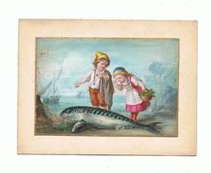 AQUARELLE Sur Cartoline Fin XIX éme_enfants A La Mer Et Le Poisson - Prints & Engravings