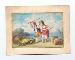 AQUARELLE Sur Cartoline Fin XIX éme_enfants A La Mer Et Le Crabe - Prints & Engravings